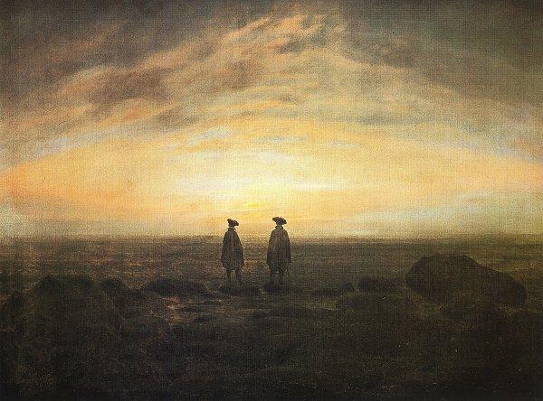 Caspar David Friedrich Zwei Maenner am Meer bei Mondaufgang