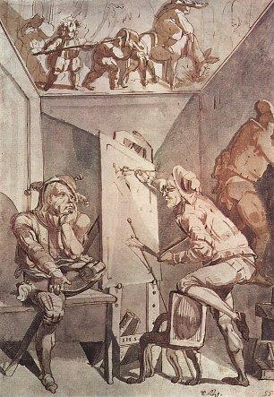 Johann Heinrich Fuessli Ein Maler mit Brille zeichnet einen Narren Wandbilder