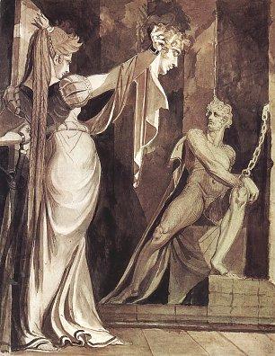 Johann Heinrich Fuessli Kriemhild zeigt Hagen das Haupt Gunthers Wandbilder