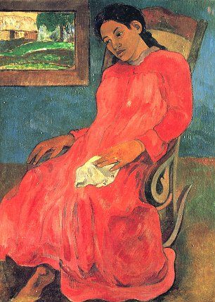 Paul Gauguin Frau im roten Kleid Wandbilder