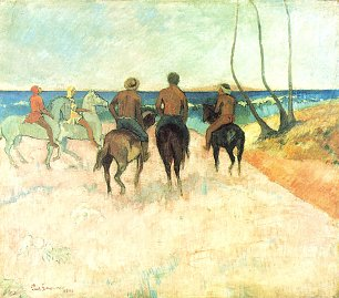 Paul Gauguin Reiter am Strand Wandbild