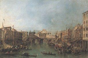 Francesco Guardi Canal Grande mit der Rialtobruecke nach dem Entwurf Palladios Wandbilder