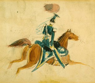 Constantin Guys Man on horseback Wandbild