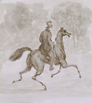 Constantin Guys Man on trotting horse Wandbild