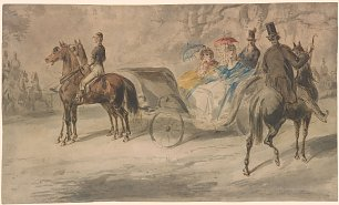 Constantin Guys Women in a Carriage with Men on Horseback Wandbild
