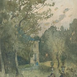 Henri-Harpignies-Landscape-with-the-House-of-the-Artist's-Mother