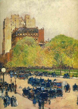 Childe Hassam Spring morning in the heart of the city aka madison square new york Wandbild