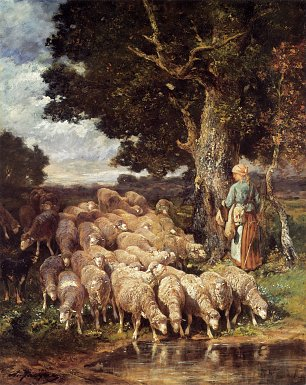 Charles Emile Jacque A shepherdess with her flock near a stream Wandbild