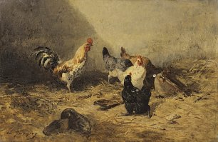 Charles Emile Jacque Cock and hens Wandbild