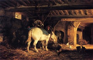 Charles Emile Jacque In the Stable Wandbild