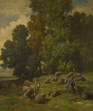 Charles Emile Jacque Shepherd in a field with his flock Wandbild