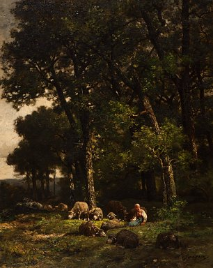 Charles Emile Jacque Shepherdess with her flock at the edge of the forest Wandbild