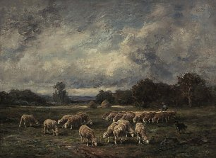 Charles Emile Jacque The flock at dusk Wandbild