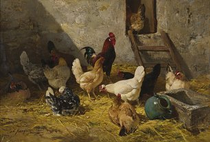 Charles Emile Jacque The hen roost Wandbild