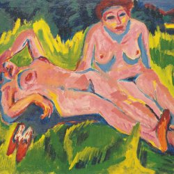 Ernst-Ludwig-Kirchner-Zwei-rosa-Akte-am-See