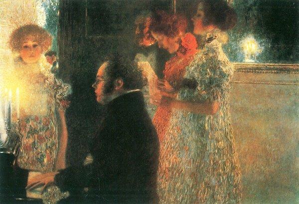 Gustav Klimt Schubert am Klavier auf Leinwand