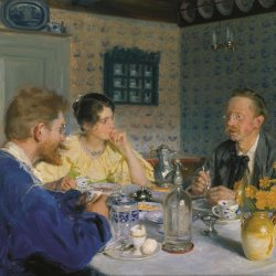 Peder-Severin-Kroyer-A-luncheon-The-artist-his-wife-and-the-writer-Otto-Benzon