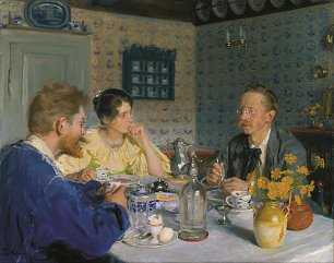 Peder Severin Kroyer A luncheon The artist his wife and the writer Otto Benzon Wandbild
