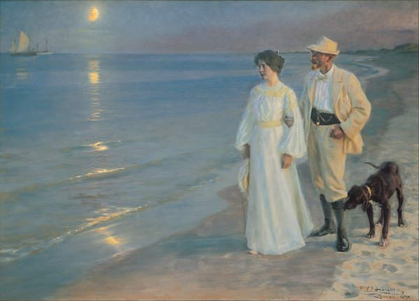 Peder Severin Kroyer Summer evening on the beach at Skagen