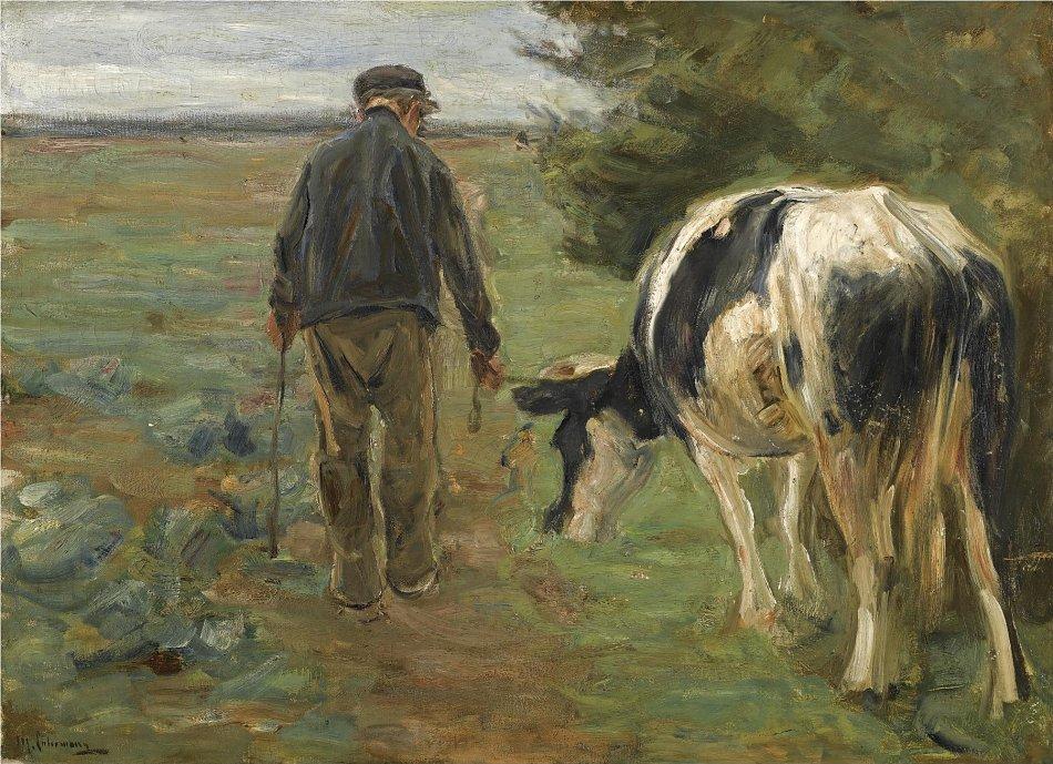 Max liebermann bauer mit kuh bild auf leinwand acrylglas - Kuh bilder auf leinwand ...