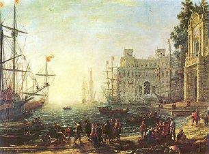 Claude Lorrain Hafen mit der Villa Medici Wandbilder