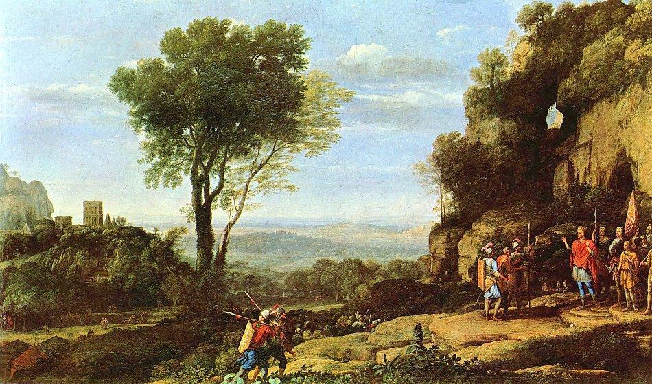 Landschaftsmalerei barock  Claude Lorrain Landschaft mit David und den drei Heroen Bild auf ...