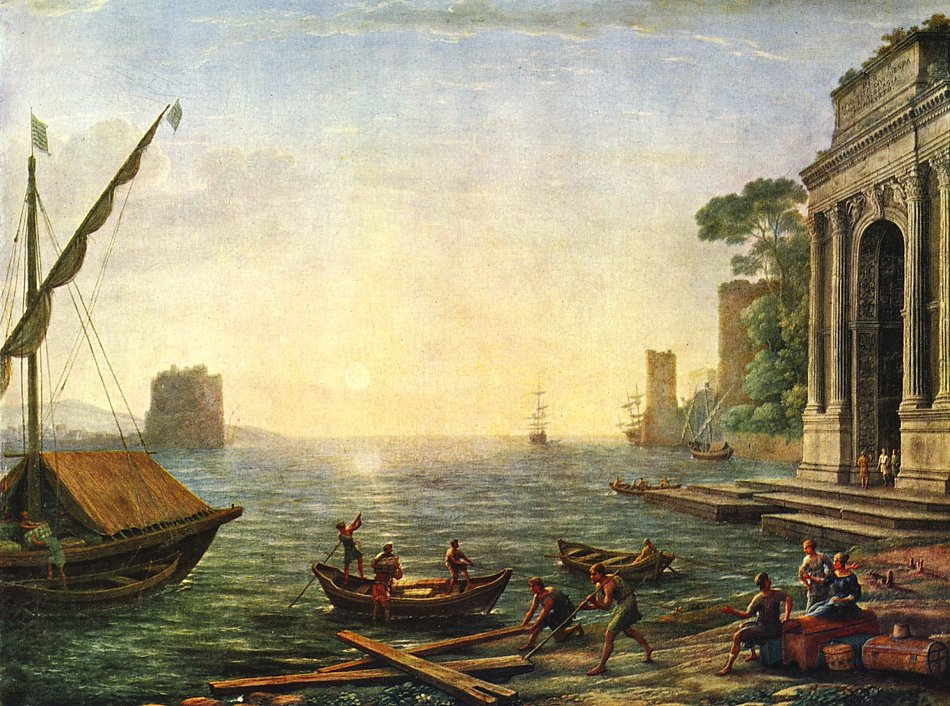 Landschaftsmalerei barock  Claude Lorrain Seehafen beim Aufgang der Sonne Bild auf Leinwand ...
