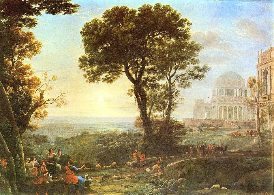 Landschaftsmalerei barock  Claude Lorrain Verdute von Delphi Bild auf Leinwand / Acrylglas ...