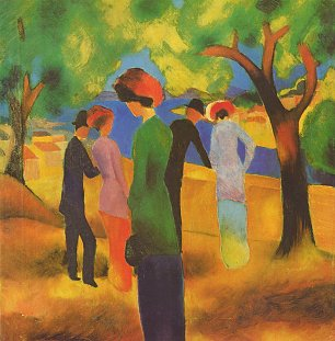 August Macke Dame in gruener Jacke