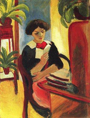 August Macke Elisabeth am Schreibtisch 2 Wandbilder