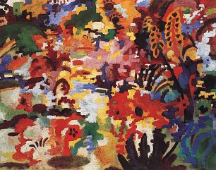 August Macke Farbige Komposition 2 grosser Blumenteppich