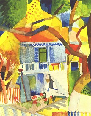 August Macke Innenhof des Landhauses St Germain