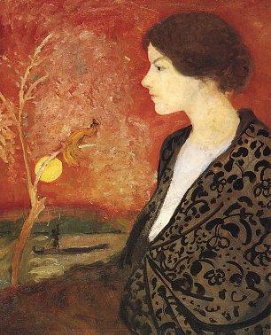 August Macke Portraitstudie Elisabeth Gerhardt aus dem Gedaechtnis Wandbilder