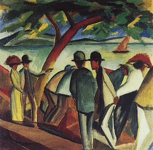 August Macke Spaziergaenger am See 2