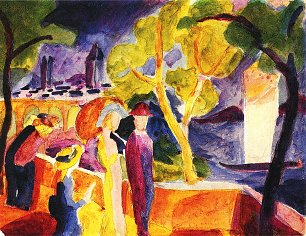 August Macke Spaziergaenger am See