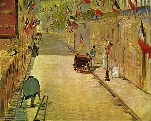 Edouard Manet Rue Mosnier mit Fahnen Wandbilder
