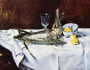 Edouard Manet Stillleben mit Lachs Wandbilder