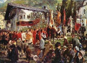 Adolph Menzel Fronleichnamsprozession in Hofgastein Wandbilder