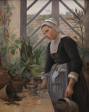 Anna Petersen Breton Girl Looking After Plants in the Hothous Wandbild