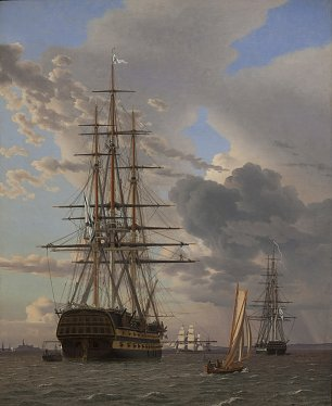 C W Eckersberg The Russian Ship of the Line Asow and a Frigate at Anchor in the Roads of Elsinore Wandbild