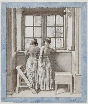 Eckersberg C.W. At a Window in the Artists Studio Wandbild
