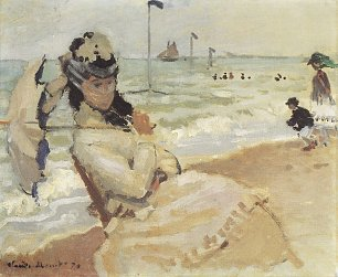 Claude Monet Camille am Strand von Trouville