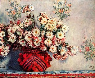 Claude Monet Stillleben mit Chrysanthemen Wandbild