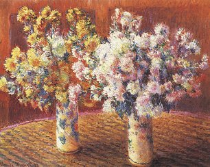 Claude Monet zwei Vasen mit Chrysanthemen Wandbild