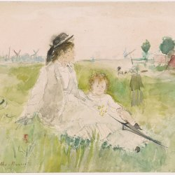 Berthe-Morisot-A-young-woman-and-child-seated-on-the-grass