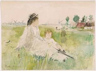 Berthe Morisot A young woman and child seated on the grass Wandbild