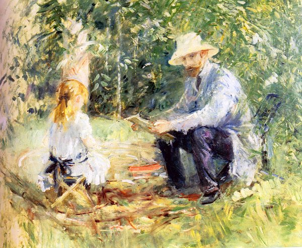 Berthe Morisot Eugene manet and his daughter with the garden
