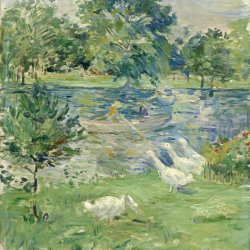 Berthe-Morisot-Girl-in-a-boat-with-Geese