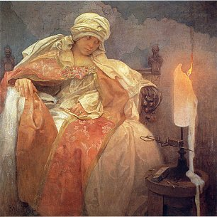 Alfons Mucha Woman with a Burning Candle Wandbild