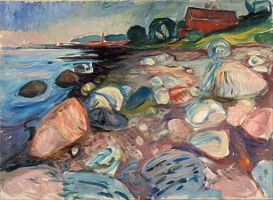 Edvard Munch Shore with Red House Wandbild